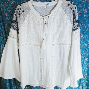 NWT Lucky Brand Boho Top Lace & Embroidery  Sz L